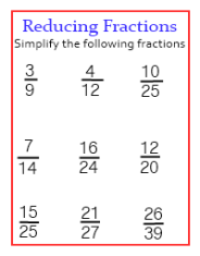 fractions worksheets step by step lessons and worksheets to learn and practice on how to reduce  fractions into