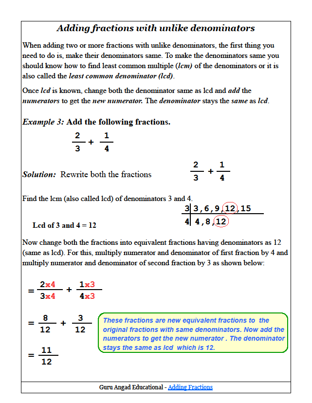 Adding Fractions With Unlike Denominators – Fractions with Unlike Denominators Worksheet