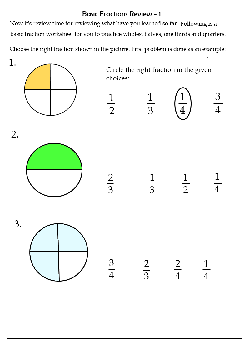 Fraction Worksheets – Grade 1 Fractions Worksheets