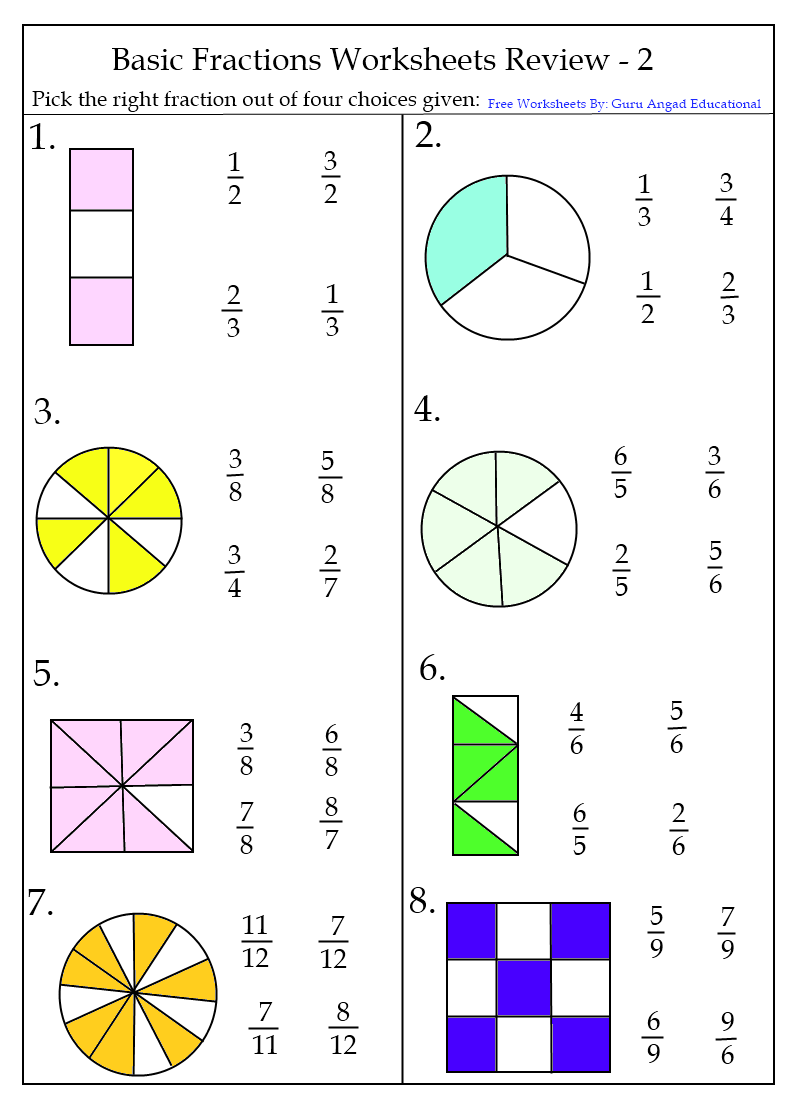 Printables Beginning Fractions Worksheets fraction worksheets grade two 7 2nd 8 2nd